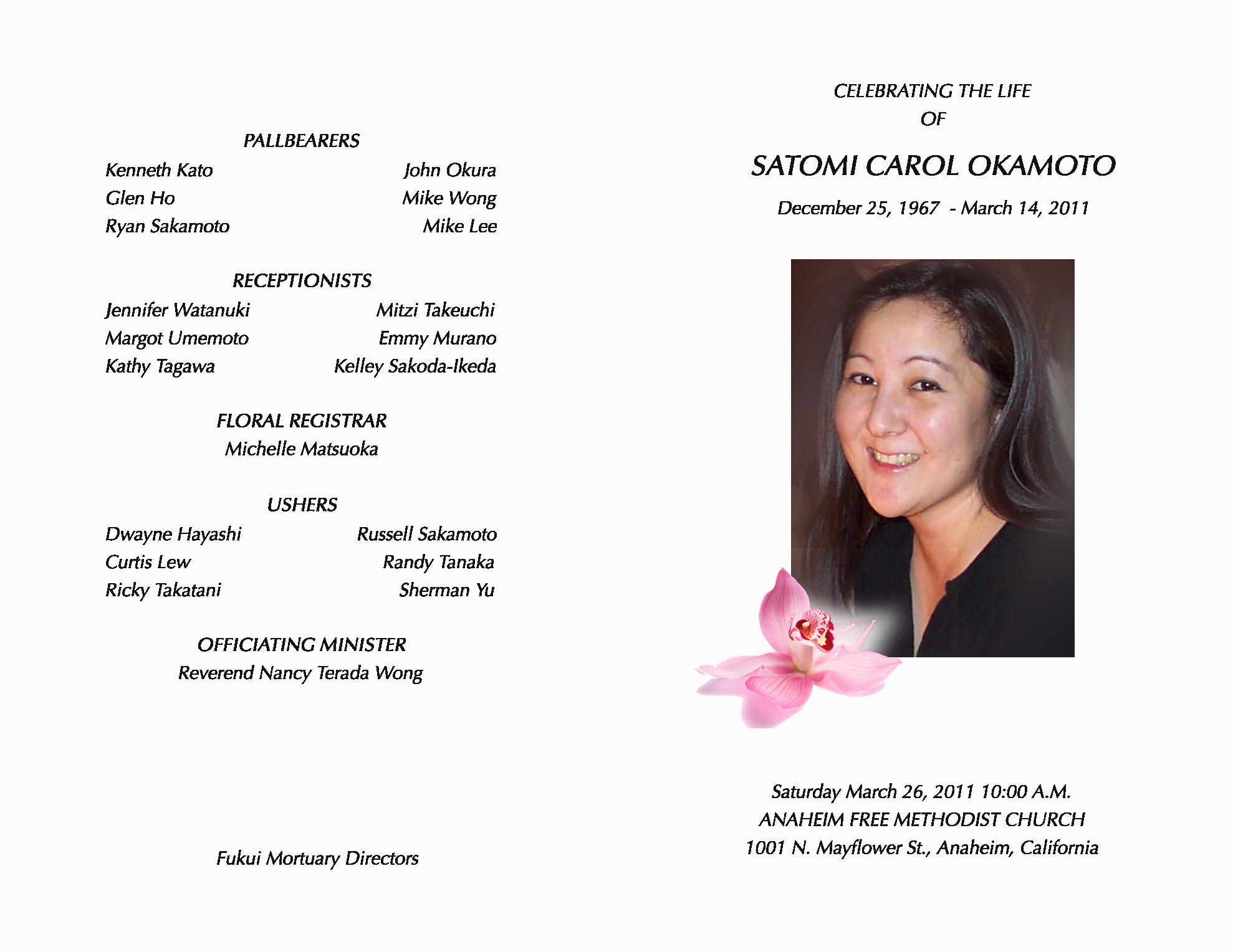 funeral service program satomi s cancer blog